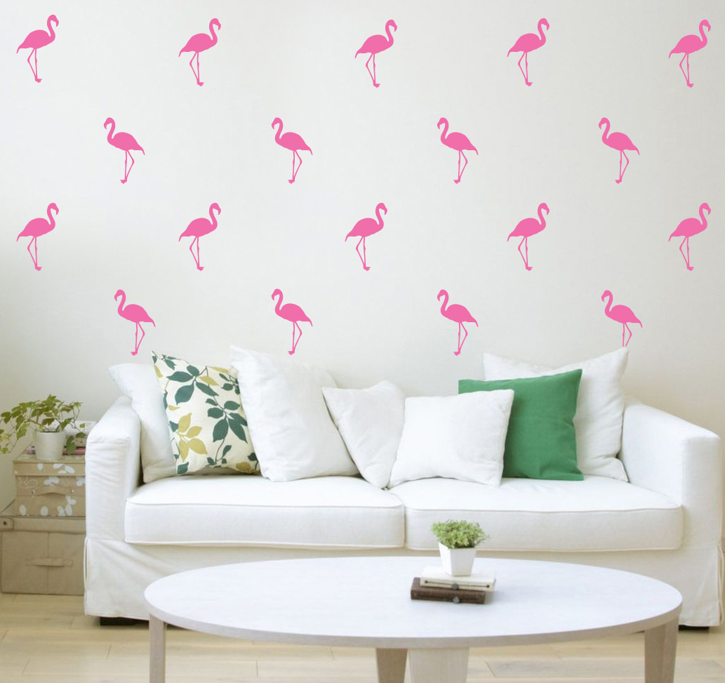 Pink Flamingos Wall Decal Happy Stickers