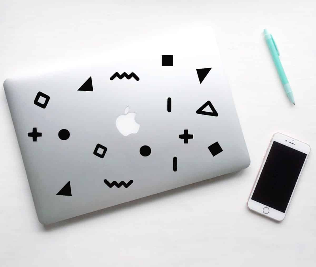 Geometric shapes in retro style laptop decals