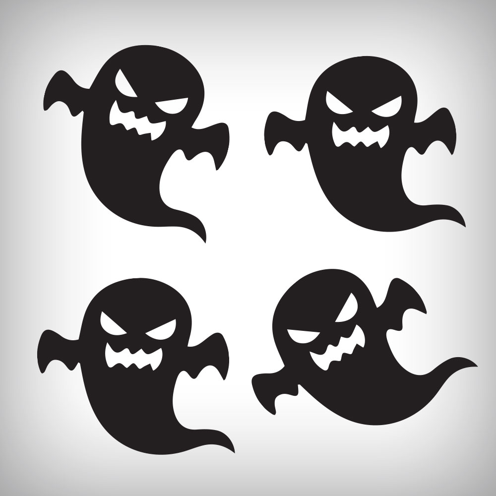 Free Black Scary Ghosts Halloween Stickers - Grab it Now