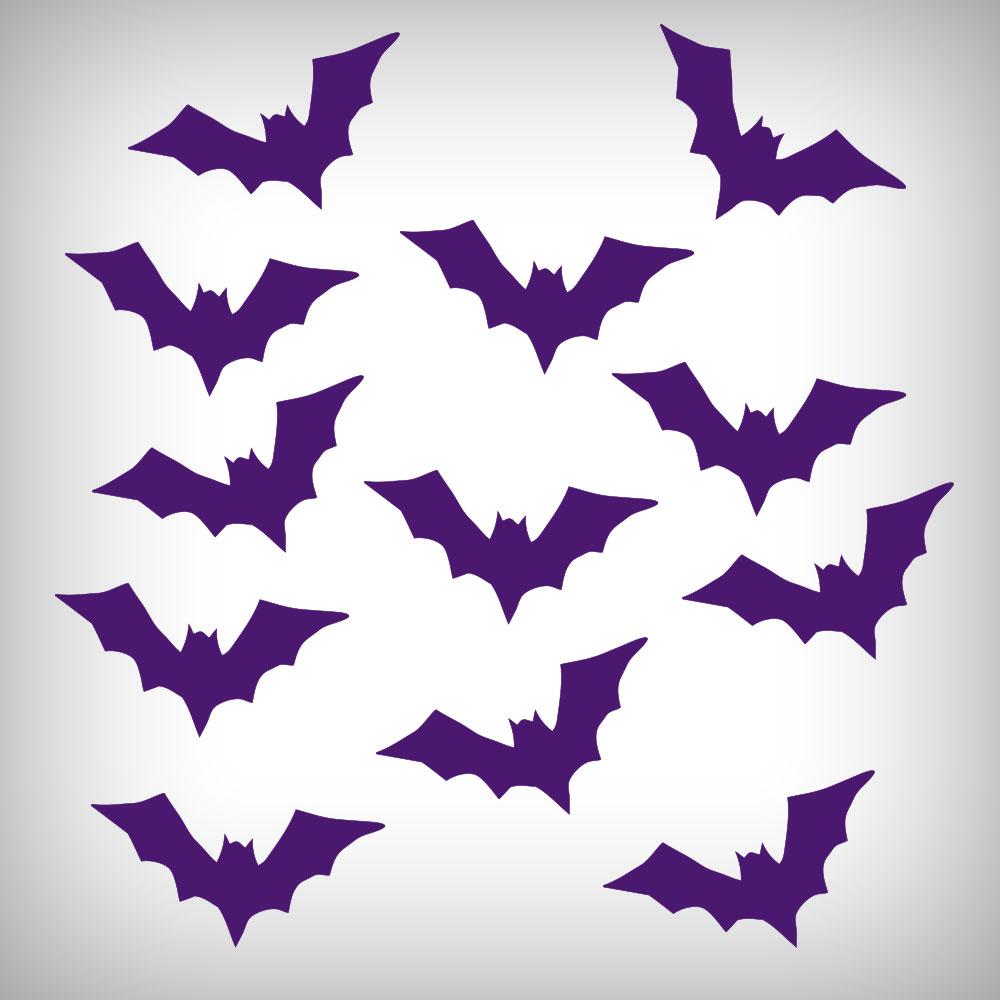Set Of 12 Purple Bats Halloween Stickers Grab It Now